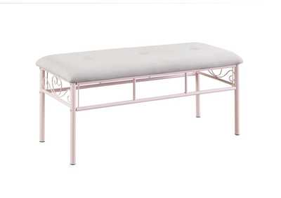 Massi Powder Pink Upholstered Bench