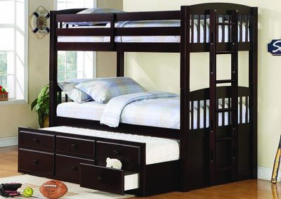 Logan Cappuccino Twin/Twin Bunk Bed (No Underbed Storage)