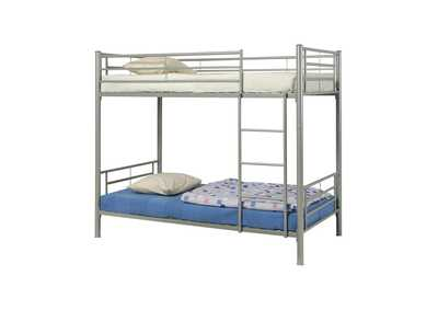Satin Linen Denley Metal Twin-over-Twin Bunk Bed
