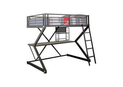 Image for Black Full Workstation Loft Bed