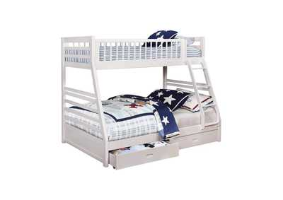 Image for Ashton White Twin-over-Full Bunk Bed W/ 2 Drawer Storage