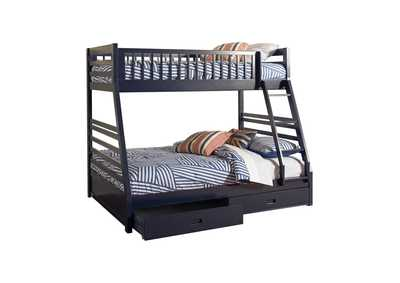 Image for Ashton Navy Twin-over-Full Bunk Bed W/ 2 Drawer Storage