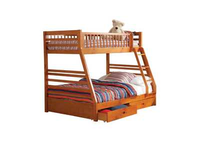 Image for Ashton Honey Twin-over-Full Bunk Bed W/ 2 Drawer Storage