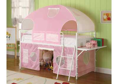 Sweetheart Pink/White Twin Tent Bunk Bed