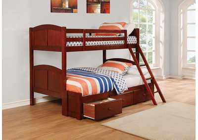 Image for Parker Chestnut Panel Twin-over-Full Bunk Bed W/ Underbed Storage Drawer Unit