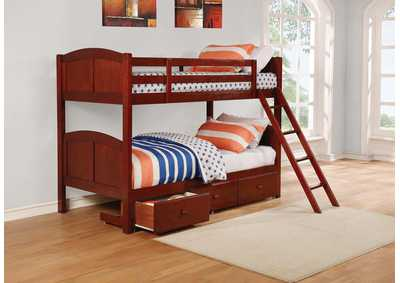 Image for Parker Chestnut Panel Twin-over-Twin Bunk Bed W/ Underbed Storage Drawer Unit
