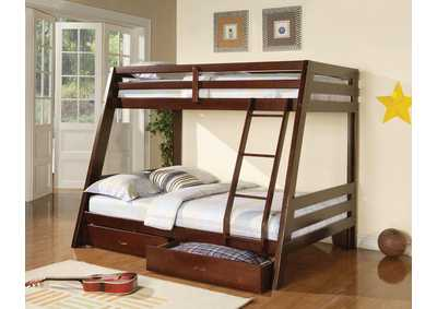 Hawkins Cappuccino Twin/Full Bunk Bed