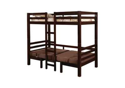 Coffee Bean Joaquin Transitional Medium Brown Twin-over-Twin Bunk Bed,Coaster Furniture