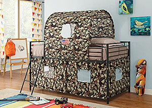 Glossy Green Camouflage Tent Twin Bunk Bed