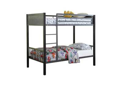 Image for Whisper Meyers Traditional Grey Twin-over-Twin Bunk Bed