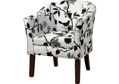 Cappuccino Playful Bird and Branch Accent Chair