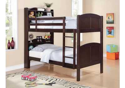 Parker Cappuccino Twin/Twin Bookcase Bunk Bed