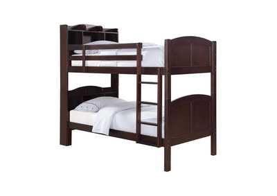 Image for Parker Cappuccino Twin-over-Twin Bunk Bed W/ Bookcase Storage Headboard