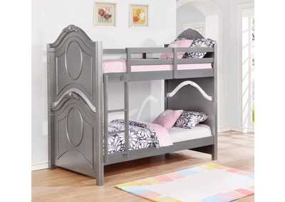 Valentine Metallic Pewter Twin/Twin Bunk Bed