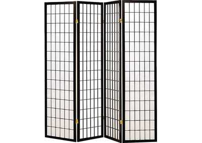 Cultured Pearl Transitional Black Four-Panel Screen