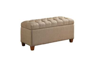Brown Tufted Taupe Storage Dining Bench