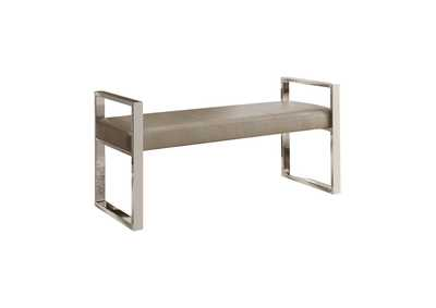Image for Chrome Contemporary Chrome and Champagne Dining Bench