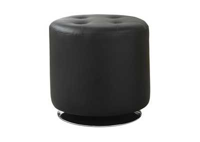 Image for Eerie Black Contemporary Black Round Ottoman