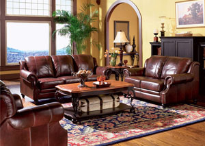 Princeton Dark Brown Tri-Tone Leather Sofa & Love Seat