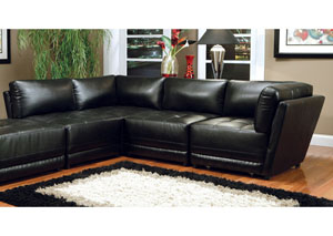 Kayson Sectional Black Armless Chair (Bonded Leather)