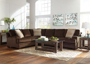 Image for Mist Gray Robion Transitional Chocolate Sectional