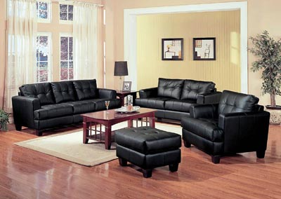 Samuel Black Bonded Leather Love Seat,Coaster Furniture