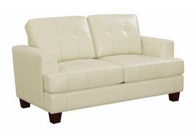 Image for Dark Brown Samuel Transitional Cream Loveseat Sleeper