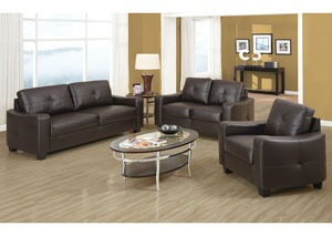 Brown Sofa and Loveseat