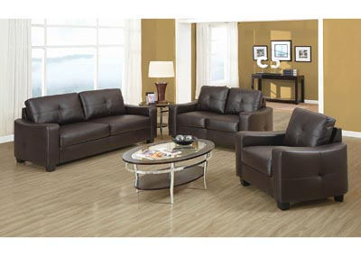 Jasmine Brown Bonded Leather Love Seat