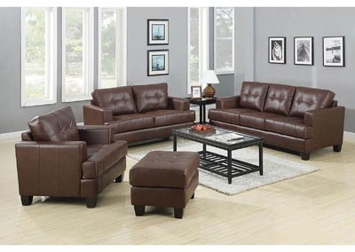 Samuel Dark Brown Bonded Leather Love Seat