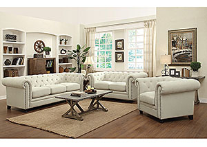 Cream Sofa, Loveseat & Chair