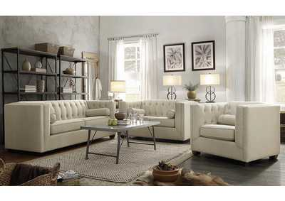Cairns Oatmeal Tufted Back Loveseat
