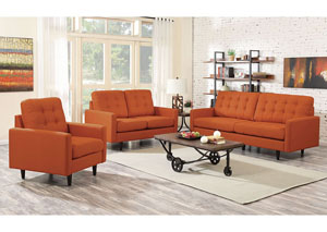 Orange Upholstered Loveseat