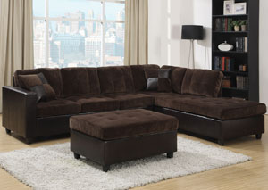 Image for Mallory Chocolate Sectional & Ottoman