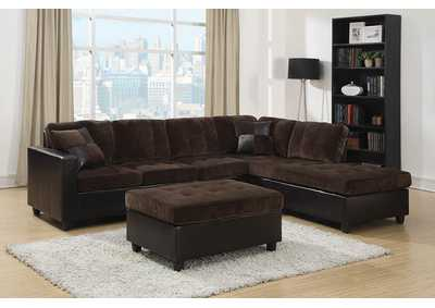 Image for Zeus Mallory Casual Dark Chocolate Sectional