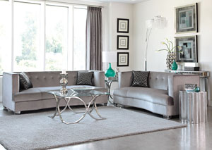 Chrome Sofa and Loveseat