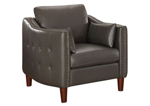 Image for Armadillo Braxten Transitional Grey Faux Leather Chair