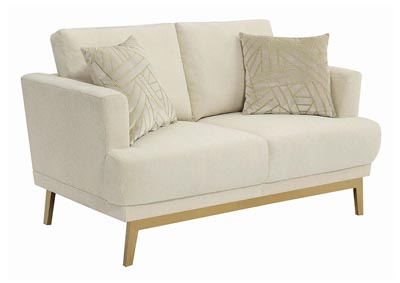 Beige Upholstered Loveseat