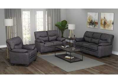 Meagan Charcoal Sofa, Armchair & Loveseat