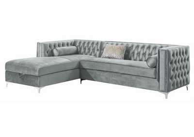 Image for Gunsmoke Bellaire Contemporary Silver and Chrome Sectional
