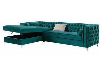 Image for Cod Gray Bellaire Contemporary Teal and Chrome Sectional