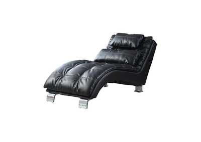 Image for Chrome Contemporary Black Faux Leather Chaise