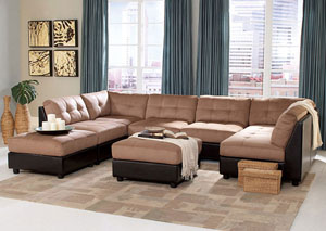 Claude Brown Light Microfiber Modular Sectional & Ottoman