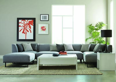 Grey 5 Piece Stationary Sectional