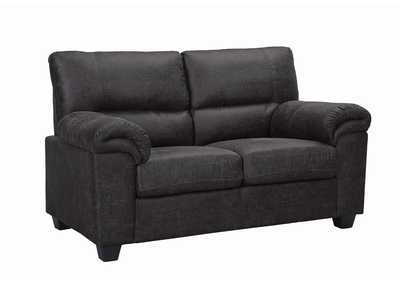 Black Stationary Fabric Loveseat