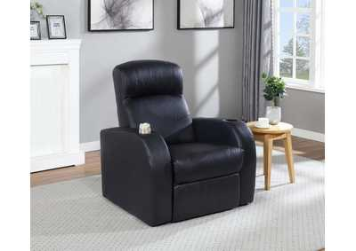 Cyrus Theater Black Recliner