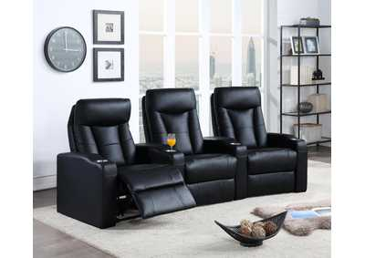 Pavillion Black Three-Seat Home Theater Seating