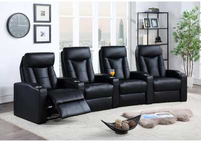 Image for Cod Gray Pavillion Black Leather Four-Seated Recliner