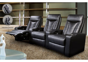 Pavillion Home Theater Collection Black 3-Seat Theater Seating