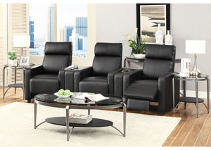 Toohey Black 3-Seat Theater Seating